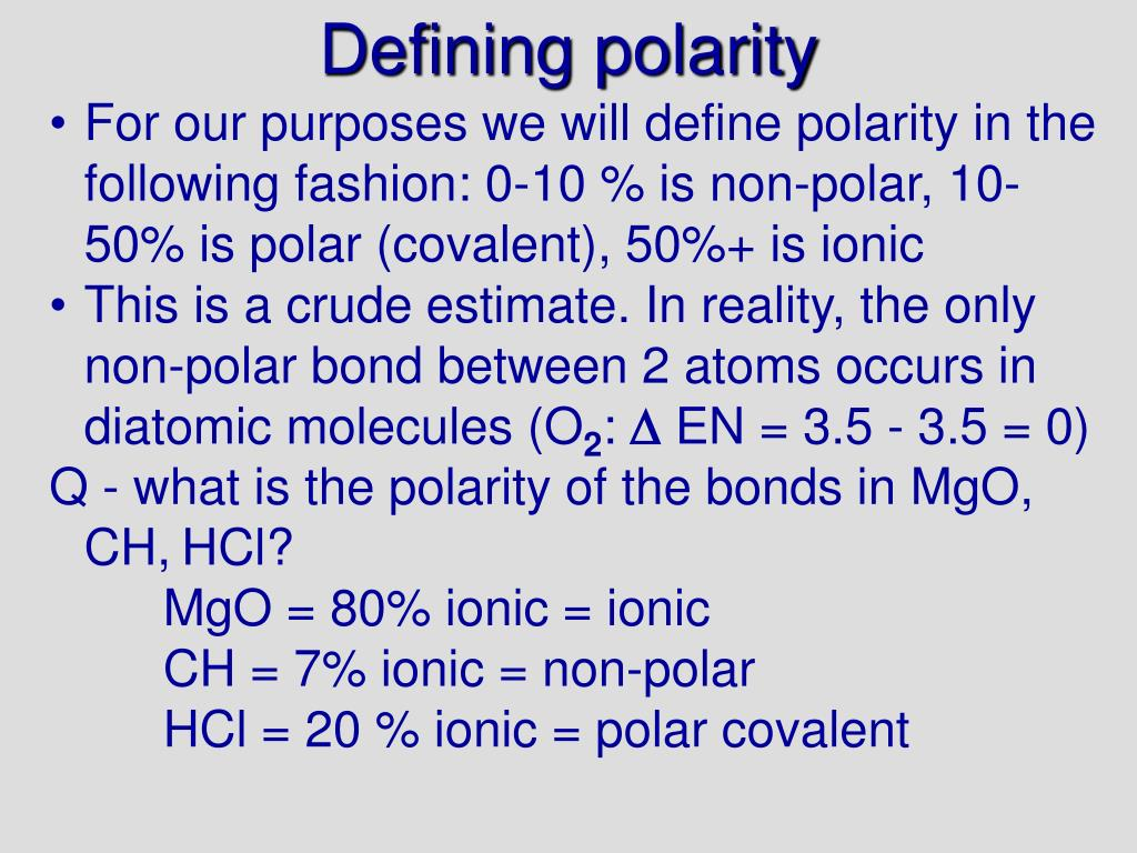 Defining polarity