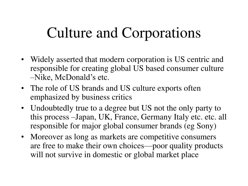 Culture and Corporations