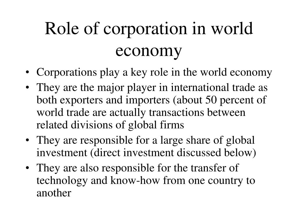 Role of corporation in world economy