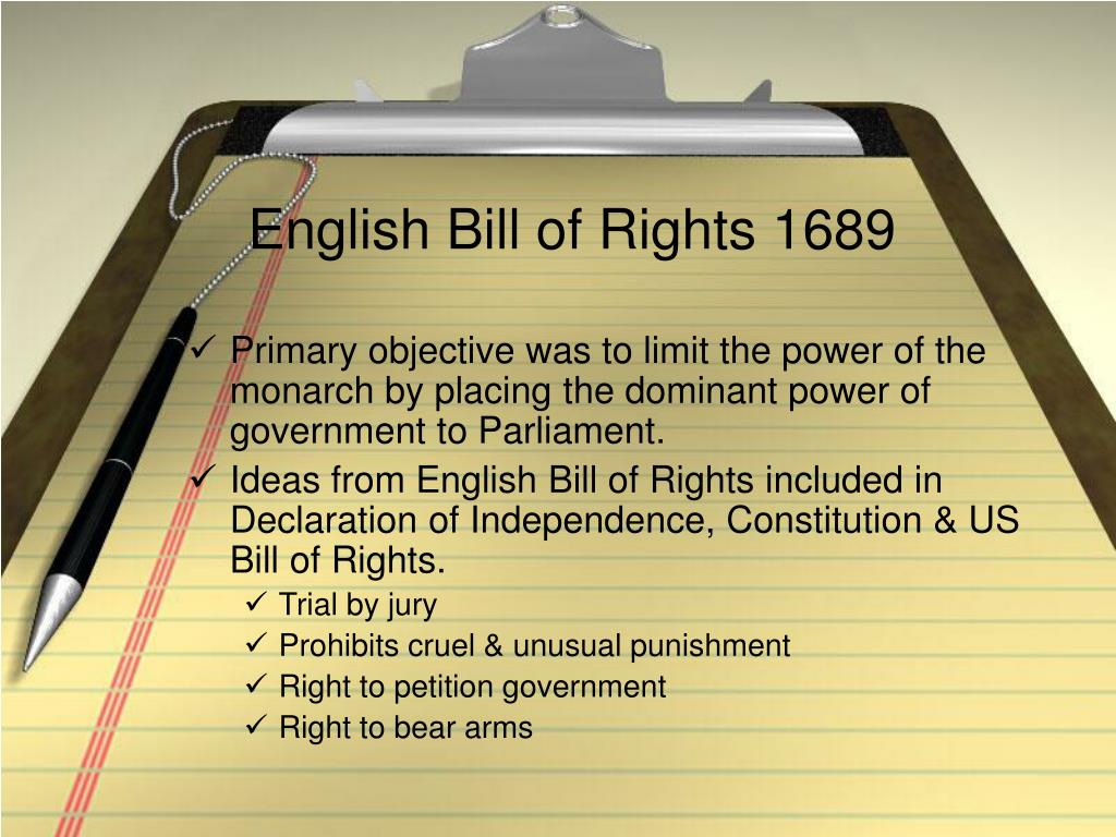 English Bill of Rights 1689