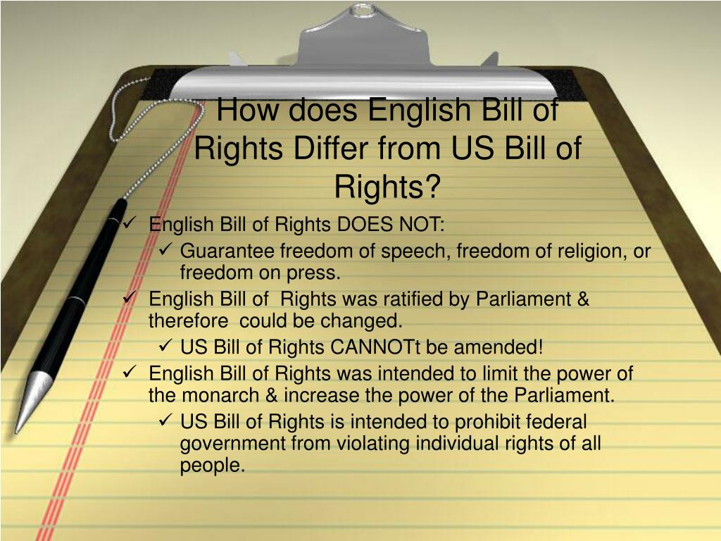 How does English Bill of Rights Differ from US Bill of Rights?