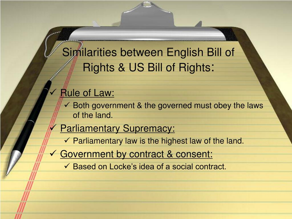 Similarities between English Bill of Rights & US Bill of Rights