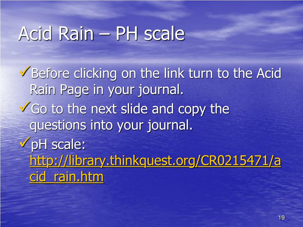 Acid Rain – PH scale