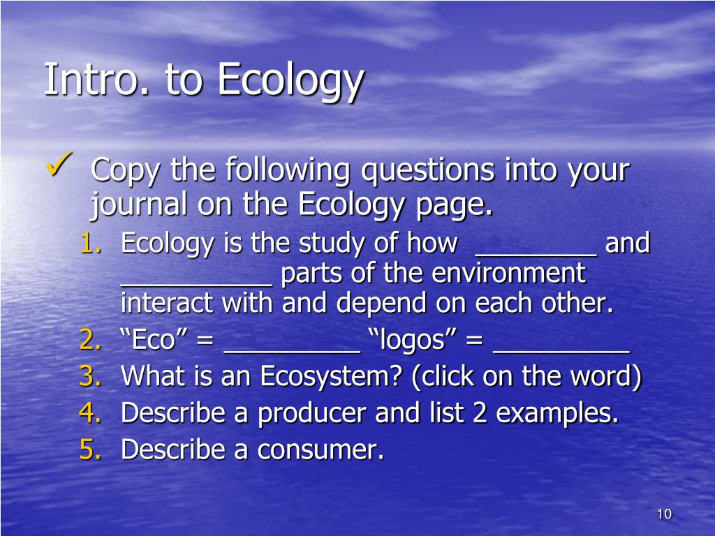 Intro. to Ecology