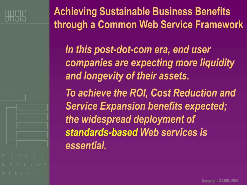 Achieving Sustainable Business Benefits through a Common Web Service Framework