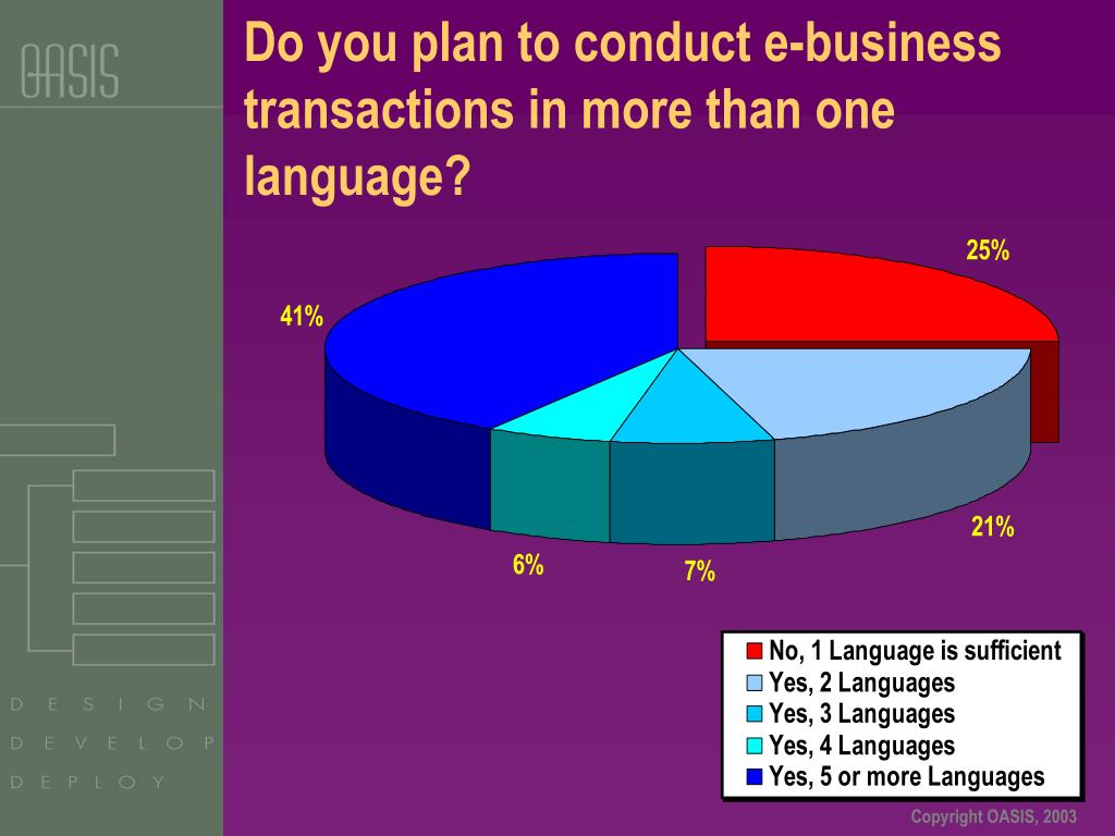 Do you plan to conduct e-business transactions in more than one language?