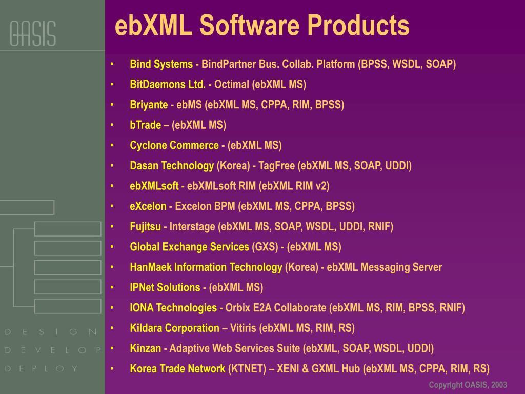 ebXML Software Products