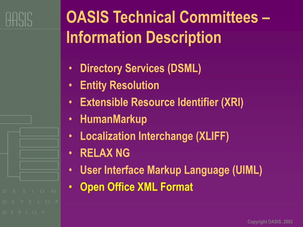 OASIS Technical Committees – Information Description