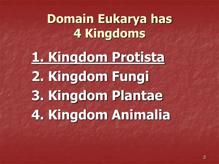 Domain eukarya has 4 kingdoms l.jpg