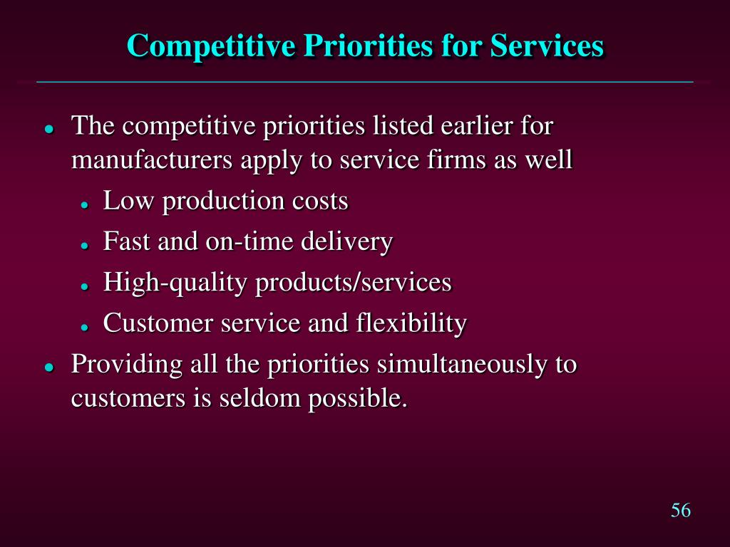 Competitive Priorities for Services