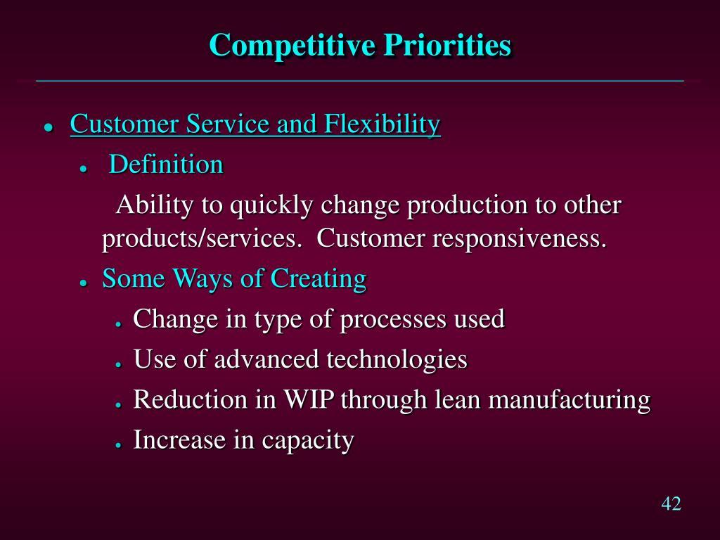 Competitive Priorities