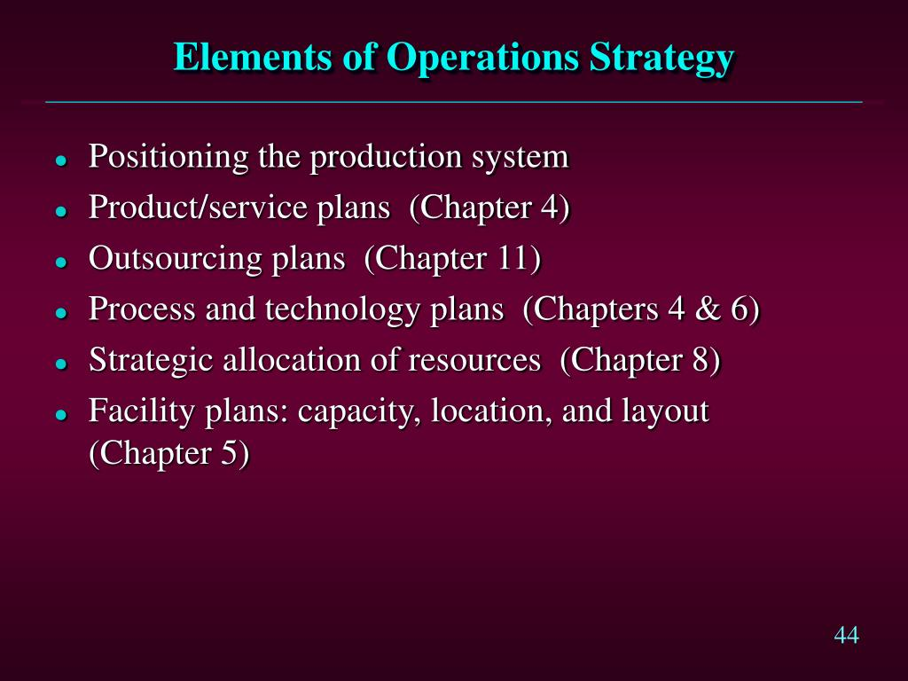 Elements of Operations Strategy