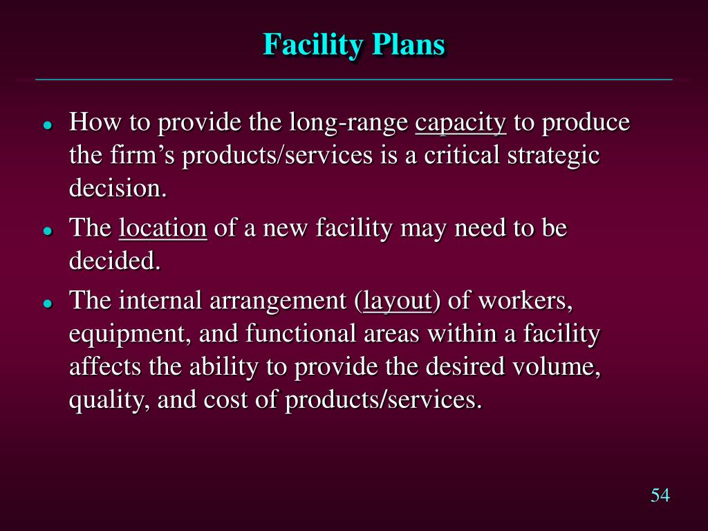 Facility Plans