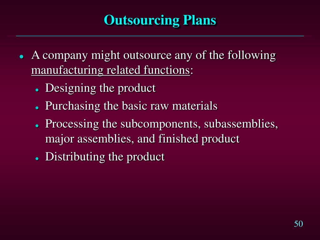 Outsourcing Plans
