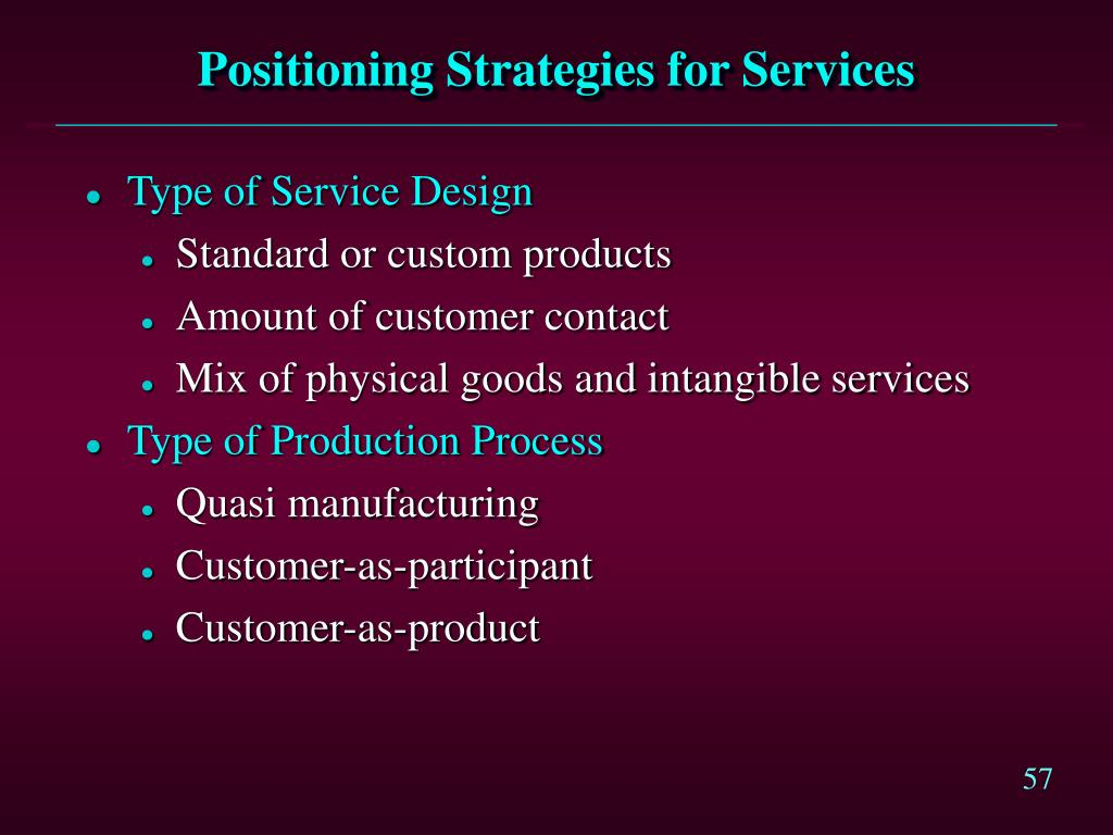 Positioning Strategies for Services