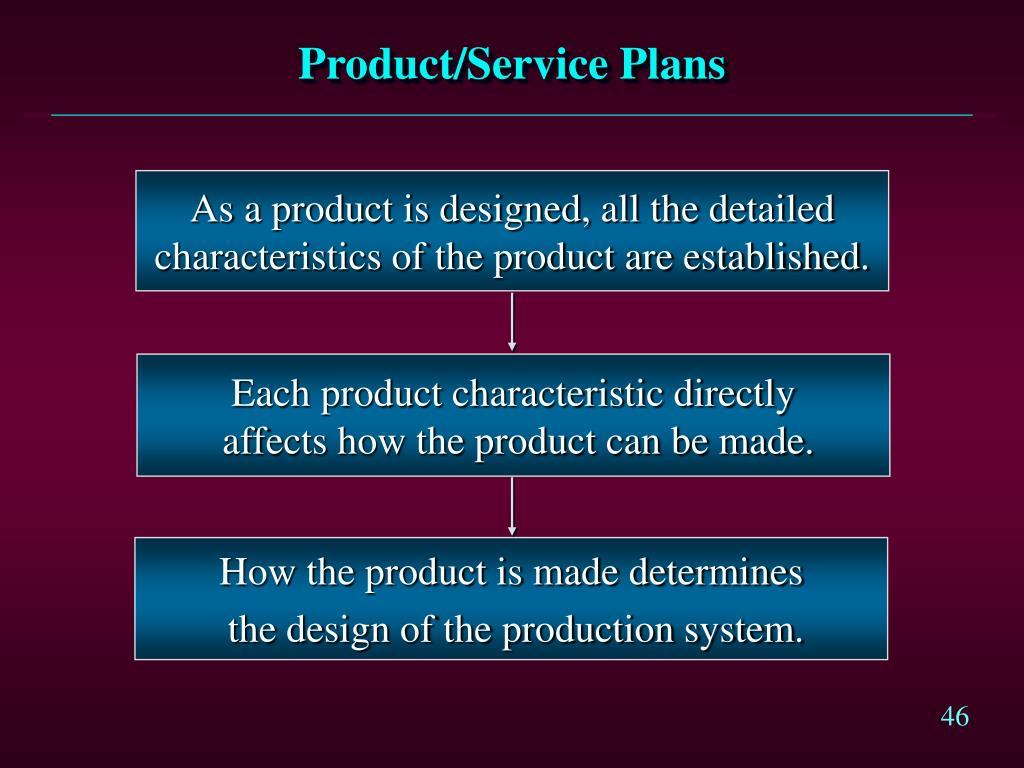 Product/Service Plans