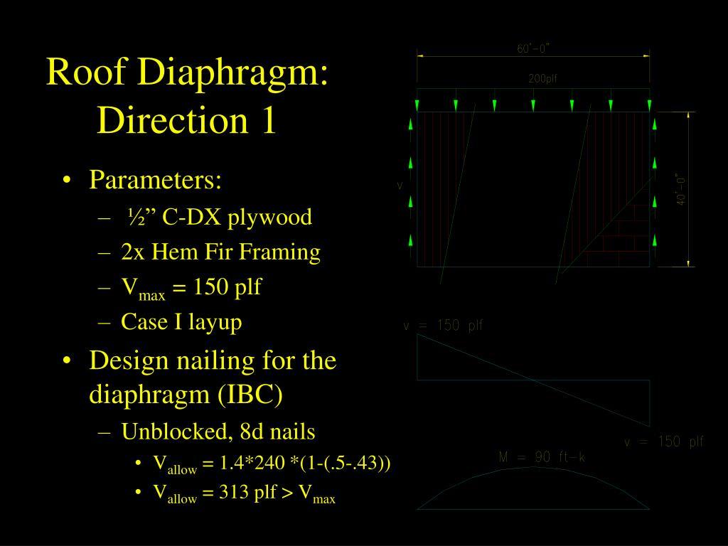 Roof Diaphragm:  Direction 1