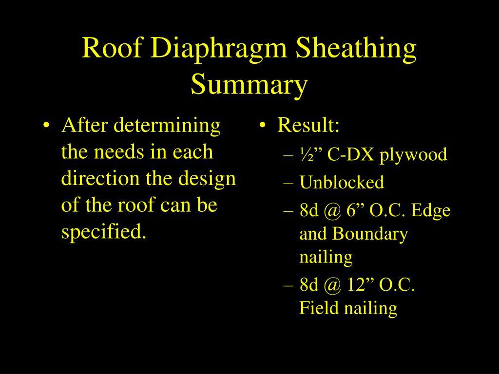 Roof Diaphragm Sheathing Summary