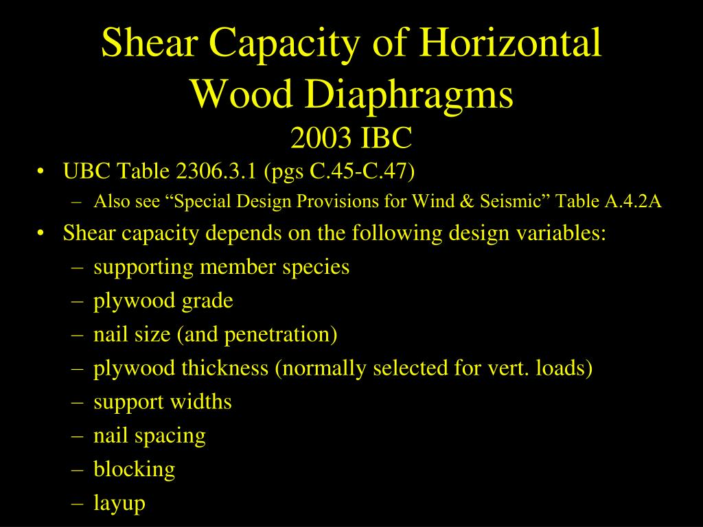 Shear Capacity of Horizontal Wood Diaphragms