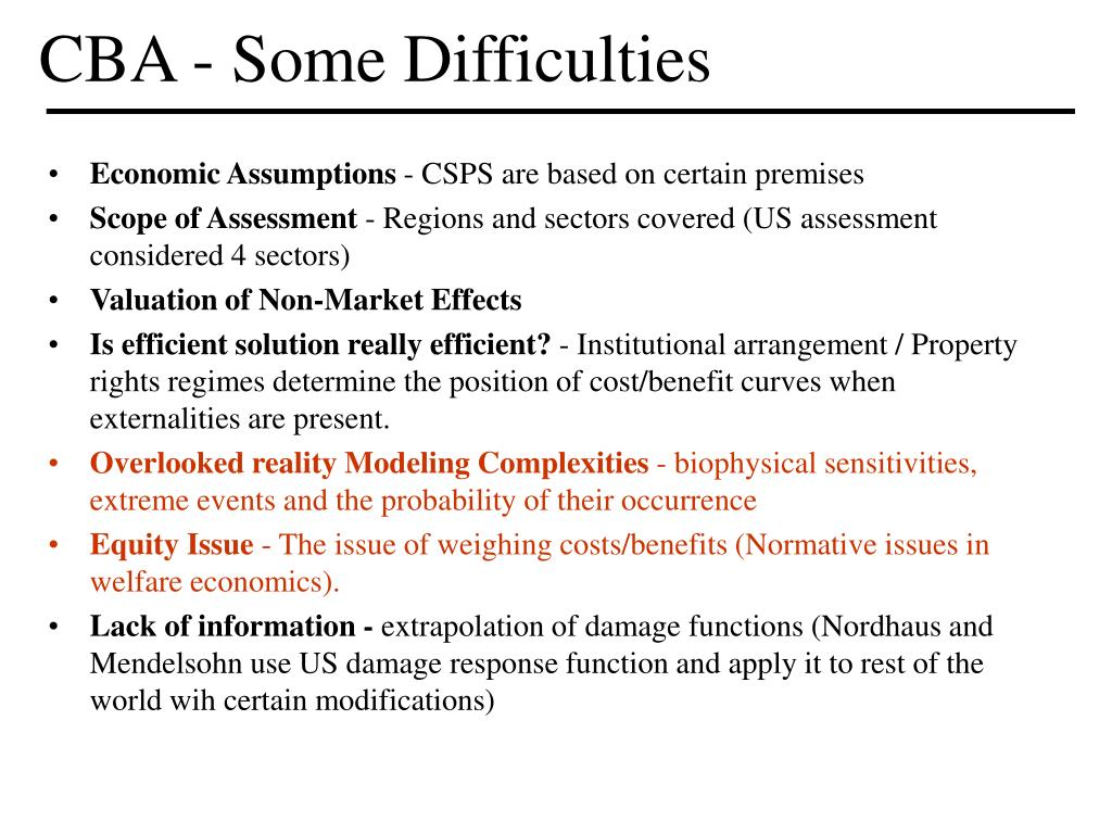 CBA - Some Difficulties