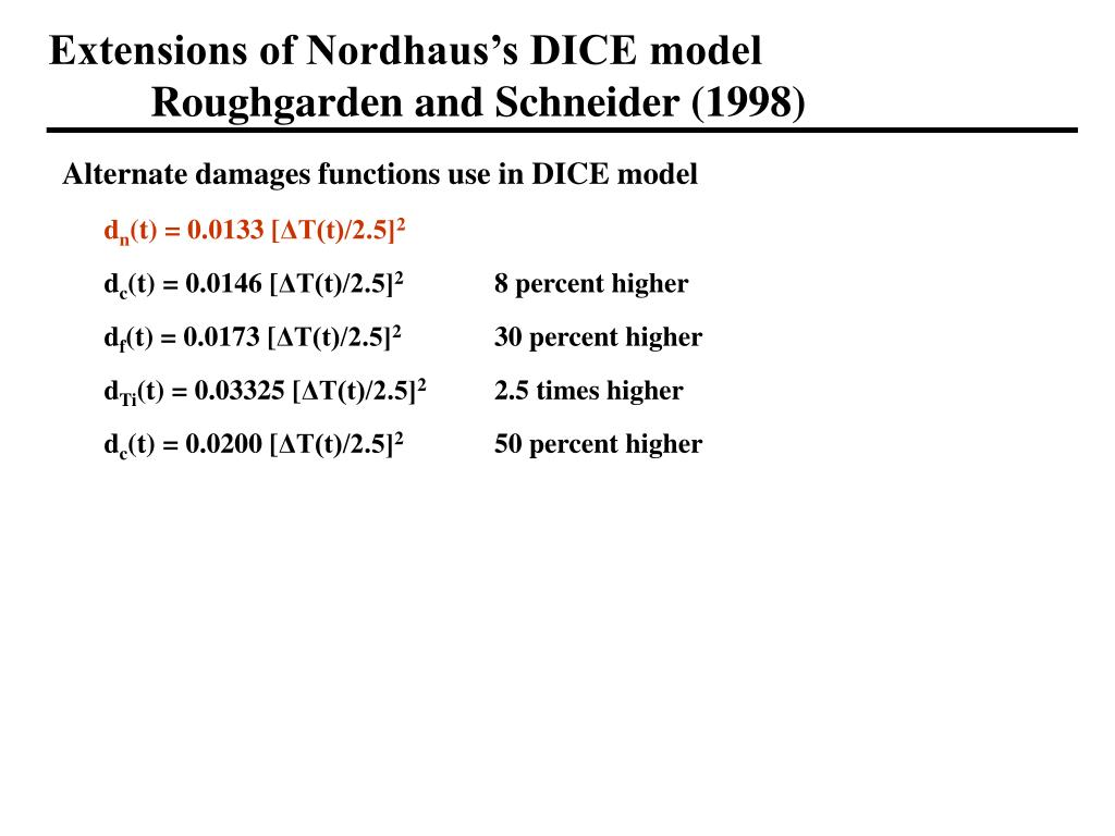 Extensions of Nordhaus's DICE model