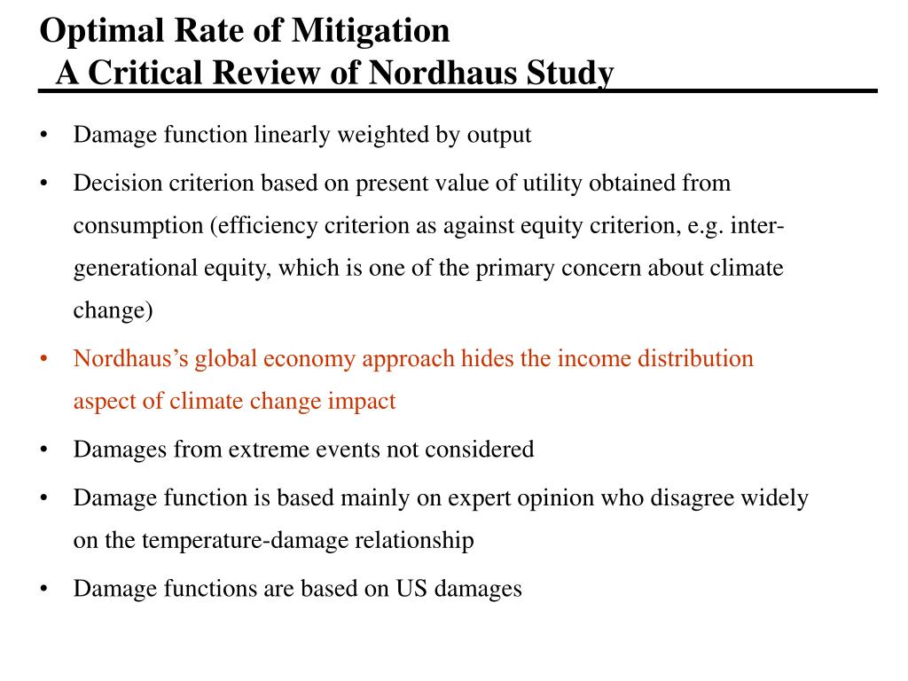 Optimal Rate of Mitigation