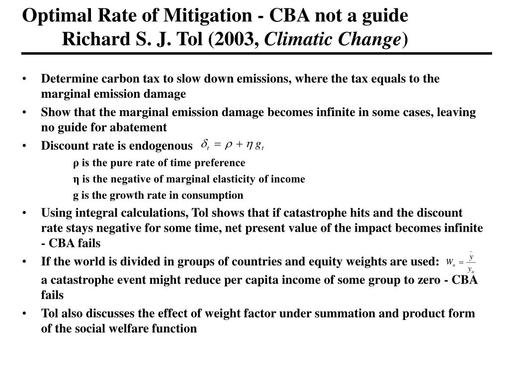 Optimal Rate of Mitigation - CBA not a guide