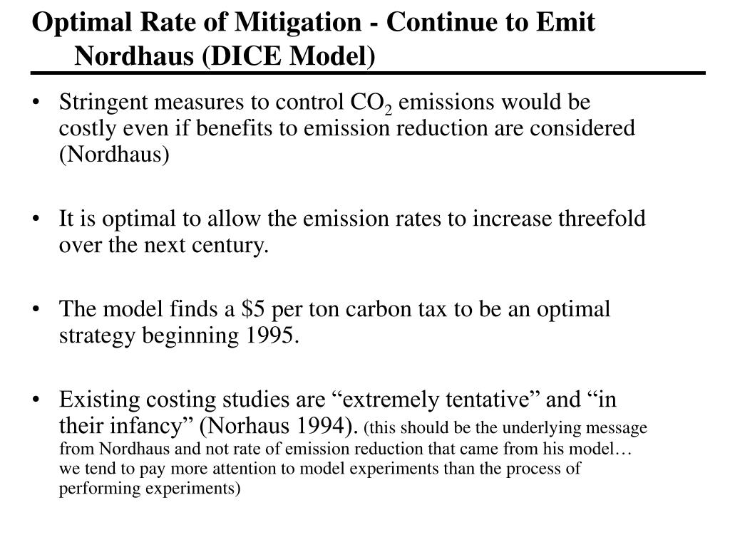 Optimal Rate of Mitigation - Continue to Emit