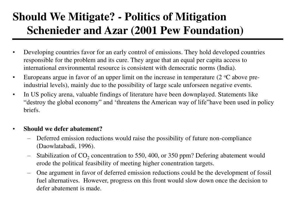 Should We Mitigate? - Politics of Mitigation