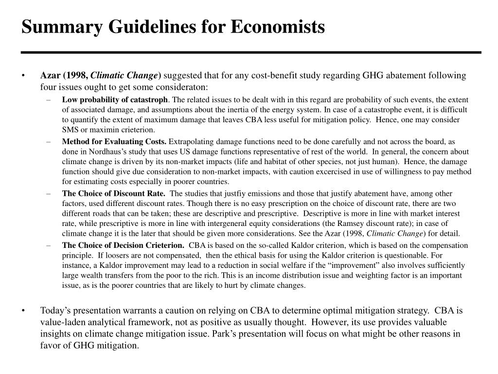 Summary Guidelines for Economists