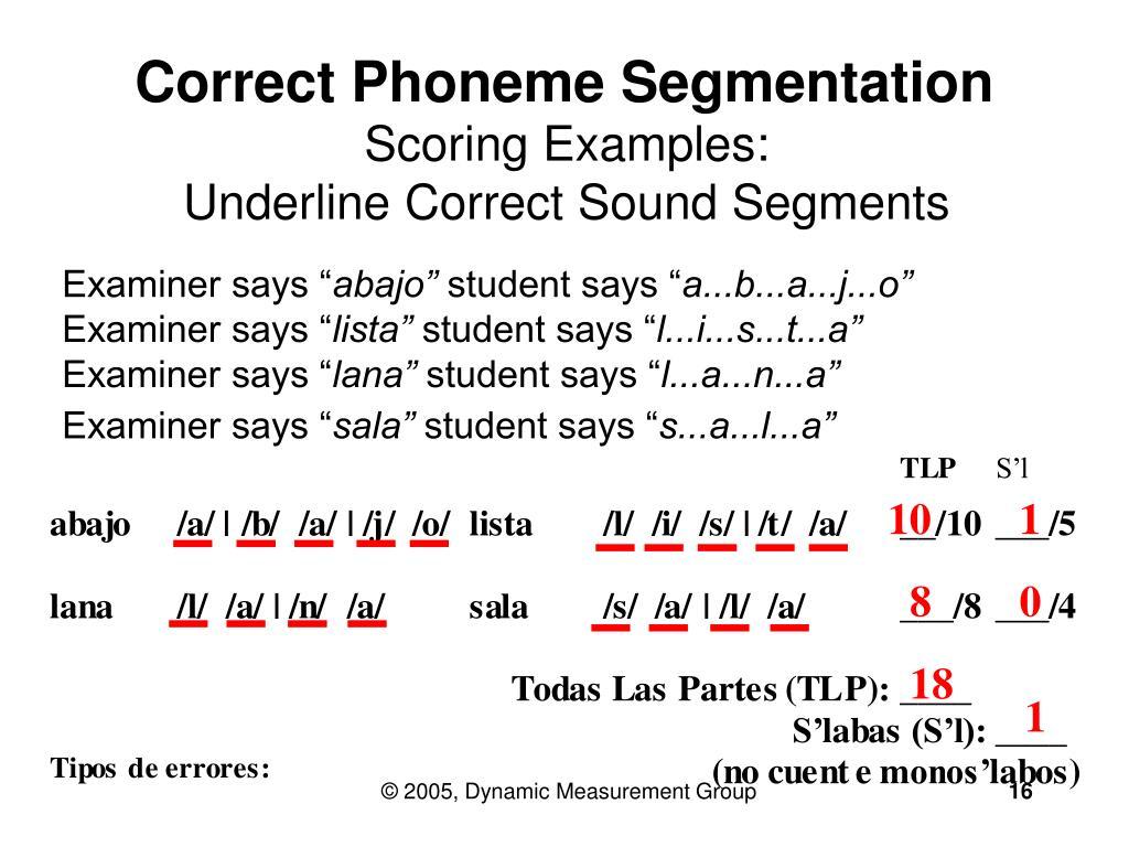 Correct Phoneme Segmentation
