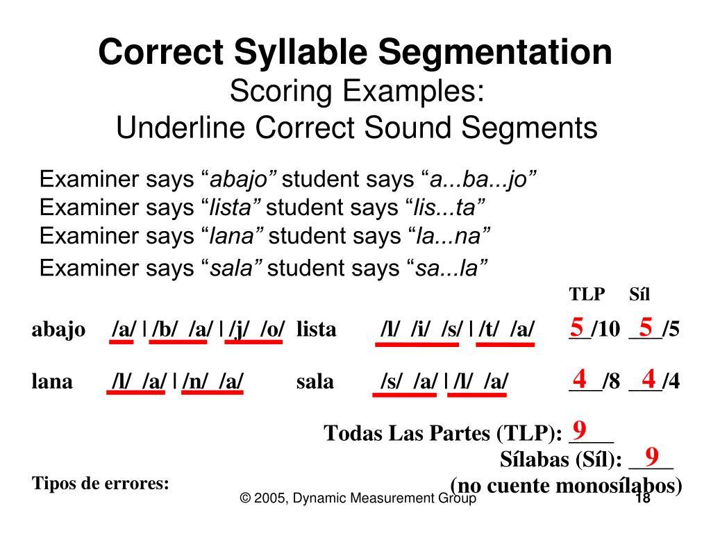 Correct Syllable Segmentation