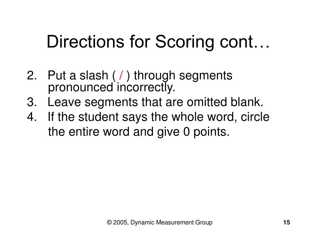 Directions for Scoring cont…