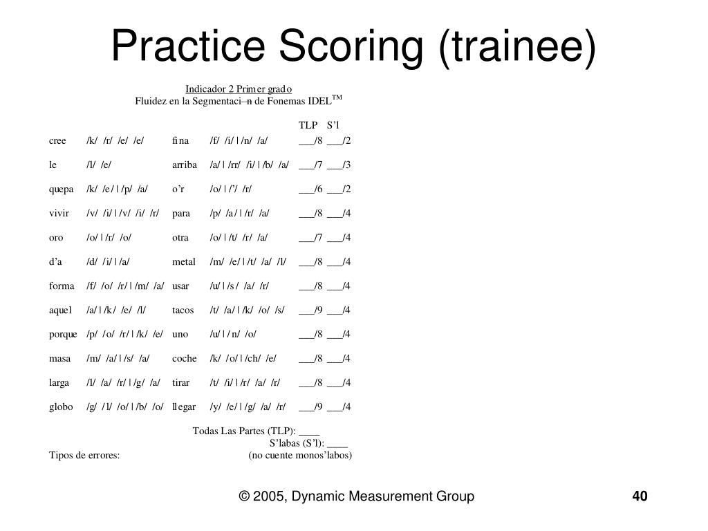 Practice Scoring (trainee)