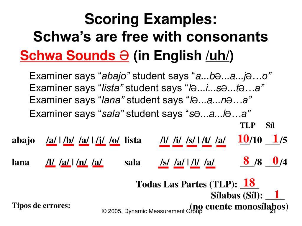 Scoring Examples: