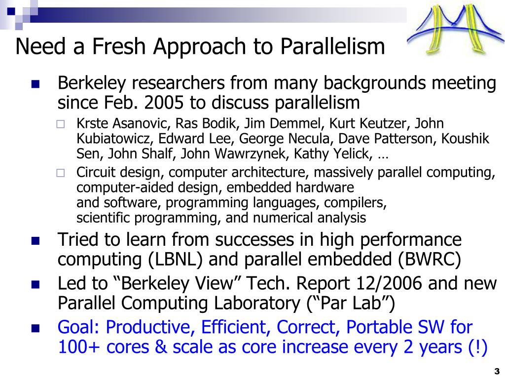 Need a Fresh Approach to Parallelism