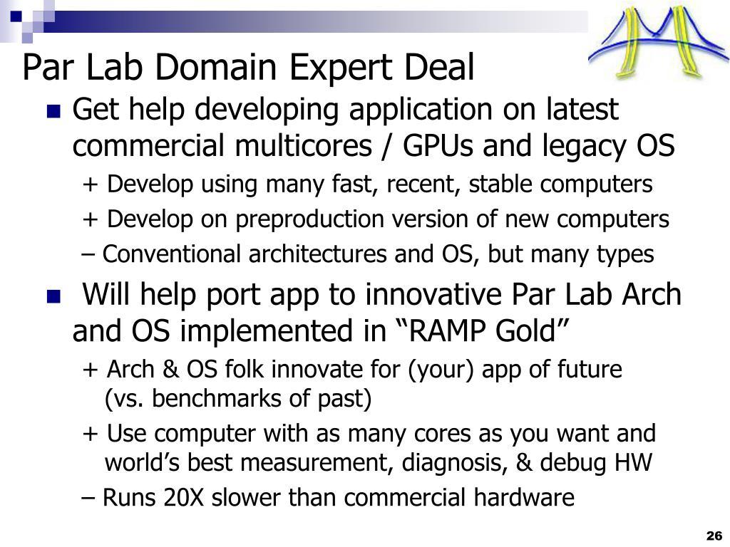 Par Lab Domain Expert Deal