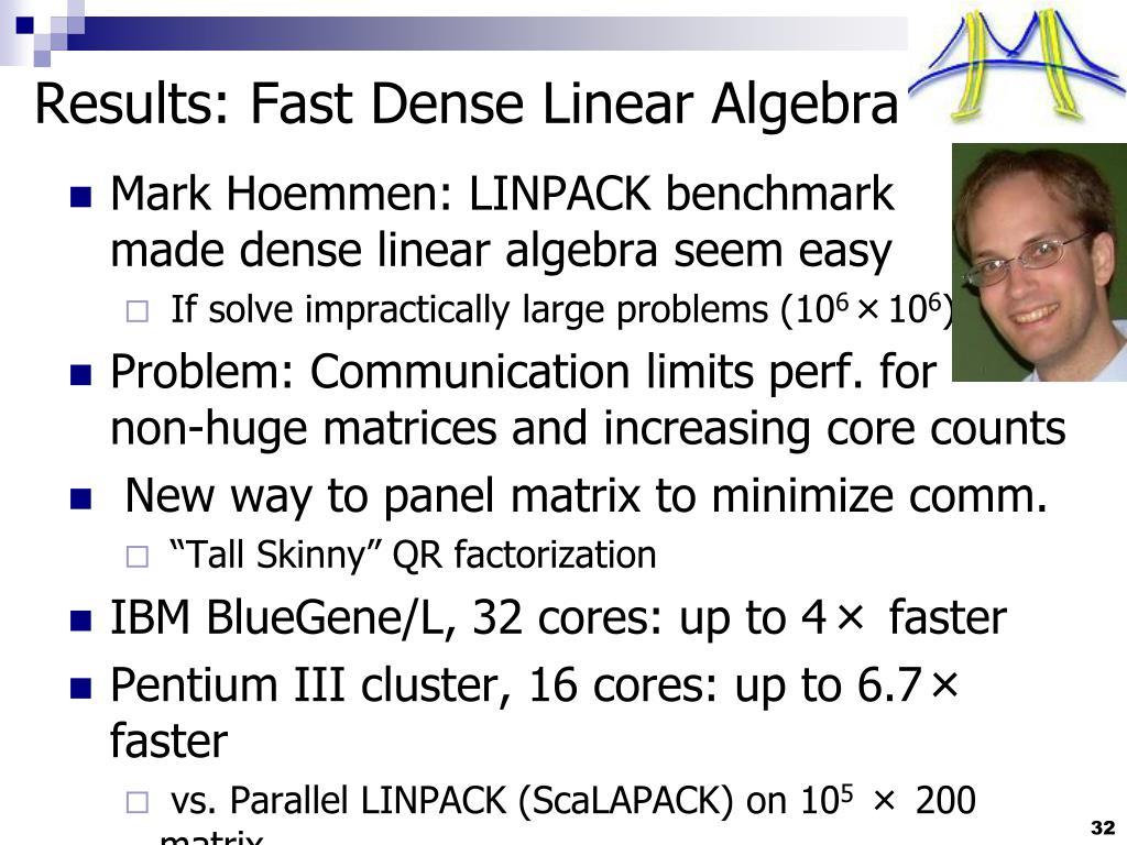 Results: Fast Dense Linear Algebra