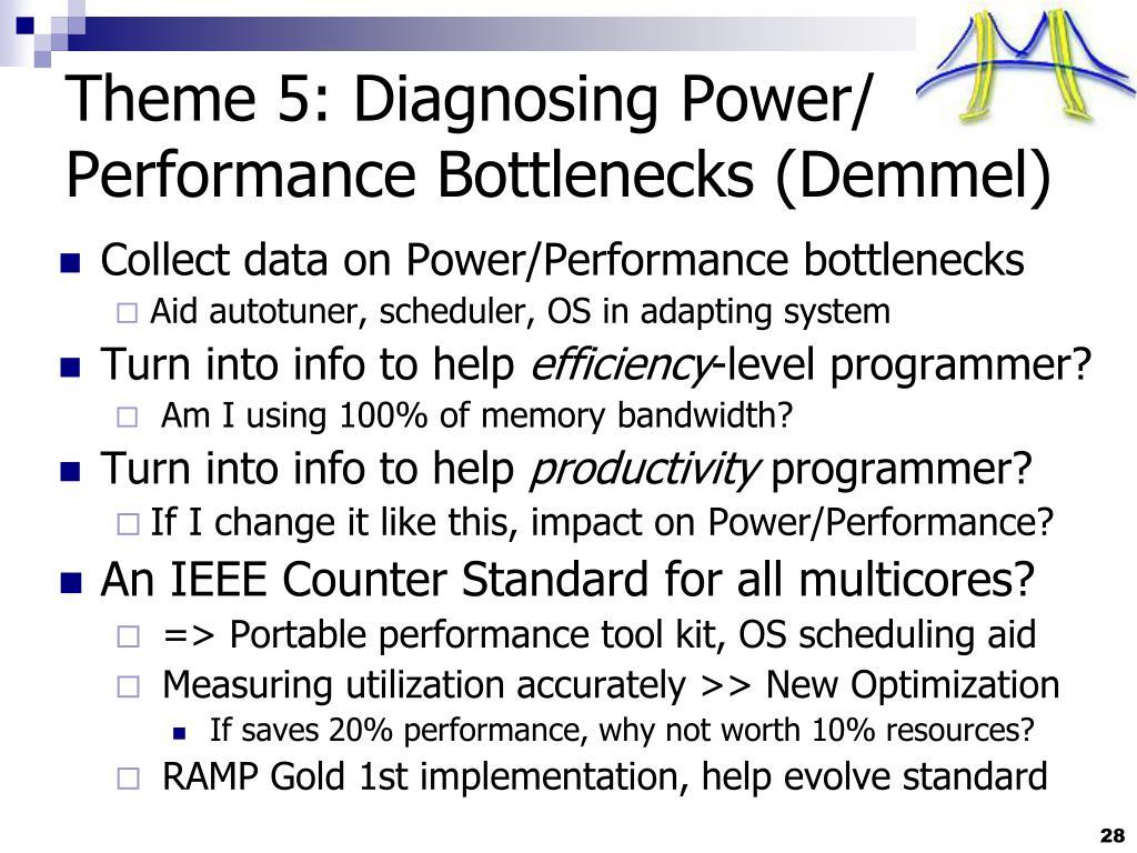 Theme 5: Diagnosing Power/ Performance Bottlenecks (Demmel)
