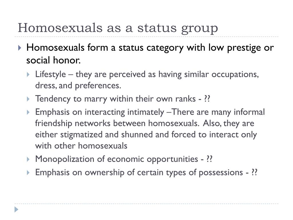 Homosexuals as a status group