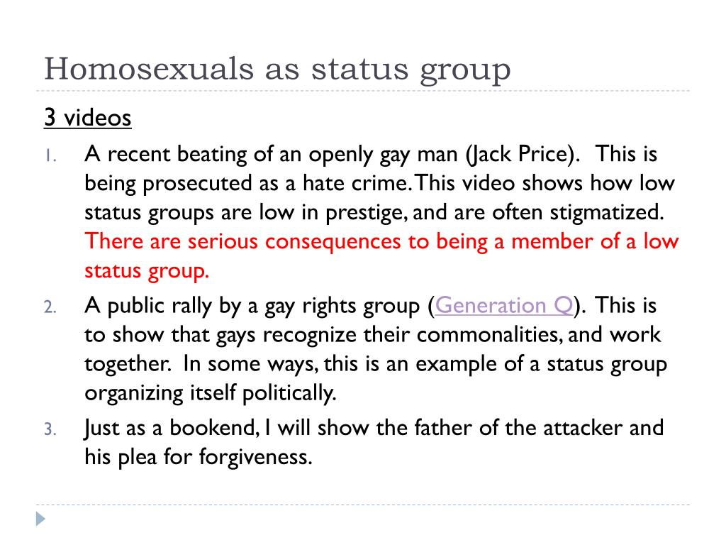 Homosexuals as status group