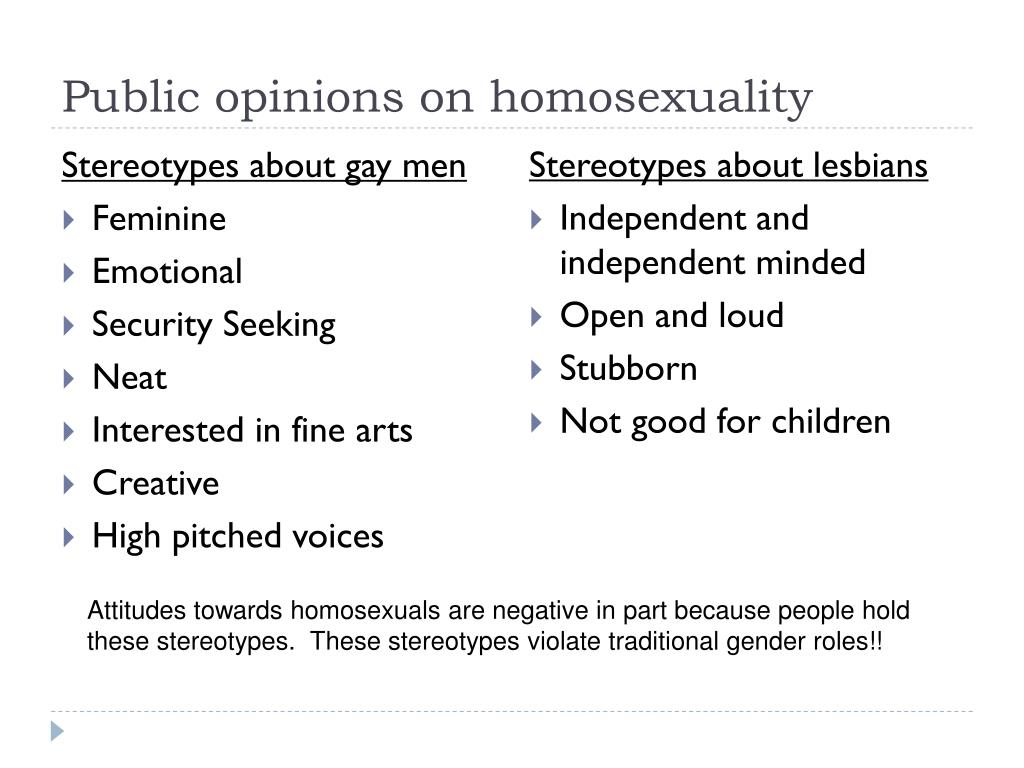 Public opinions on homosexuality