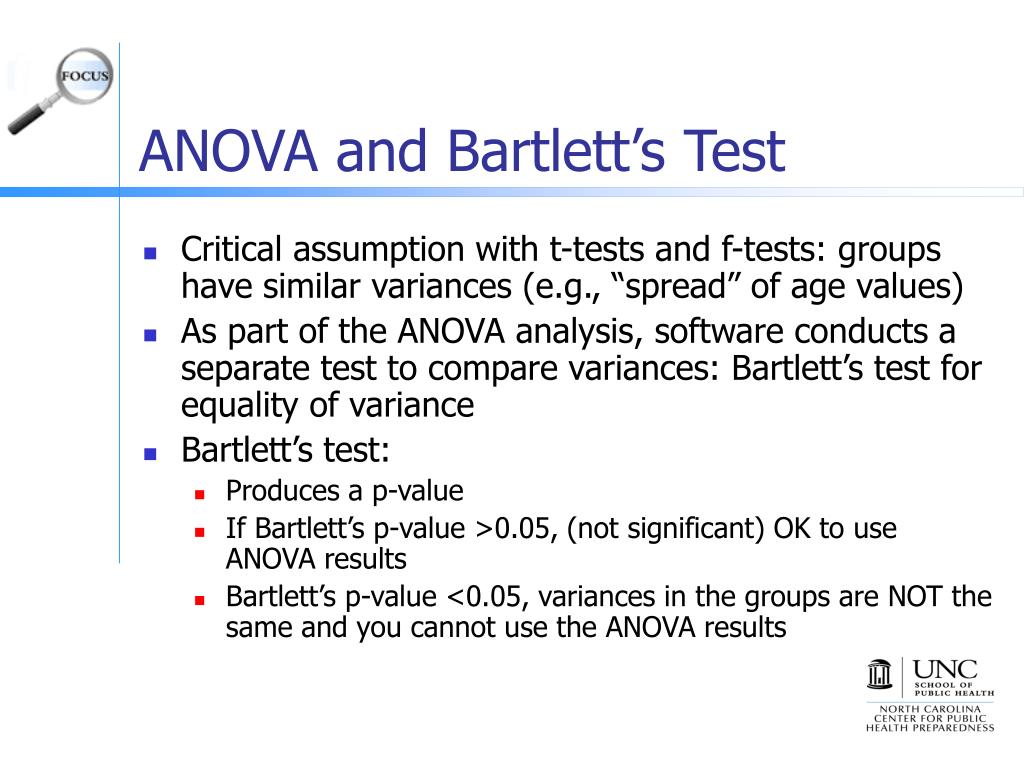 ANOVA and Bartlett's Test