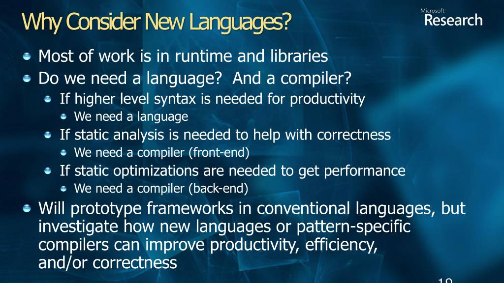 Why Consider New Languages?