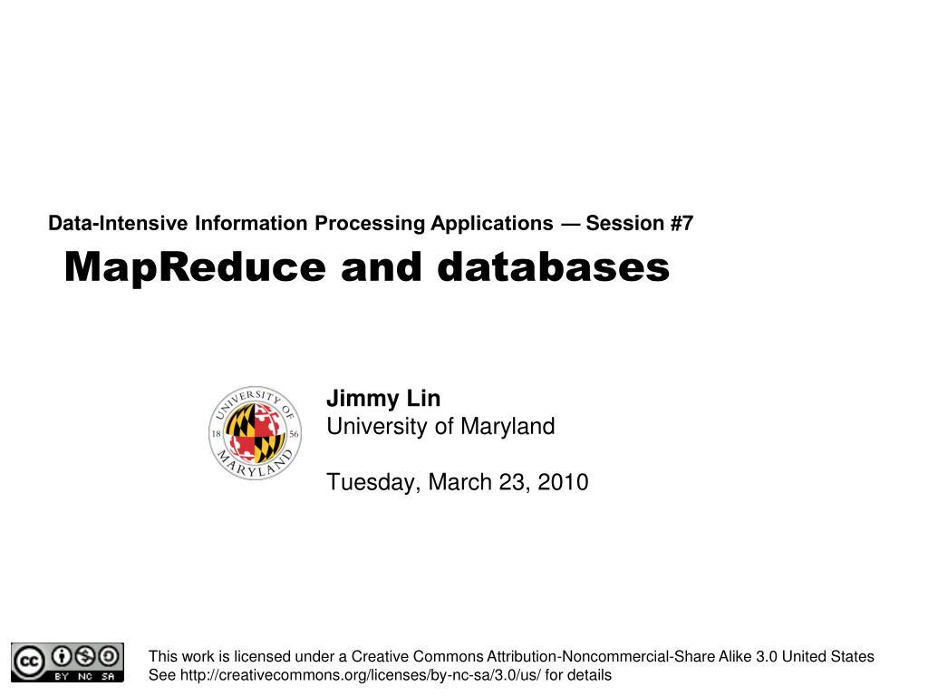 MapReduce and databases