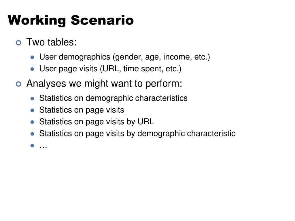 Working Scenario