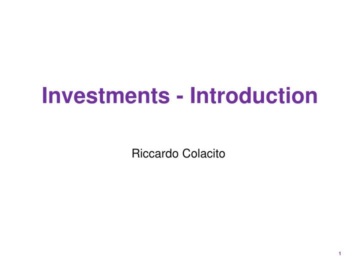 Investments introduction