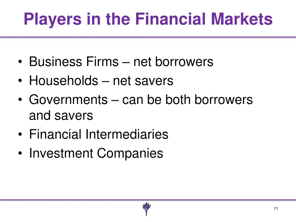 Players in the Financial Markets