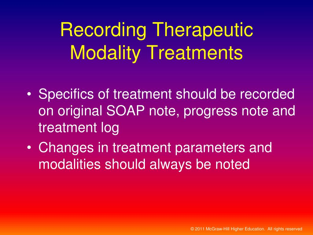 Recording Therapeutic Modality Treatments