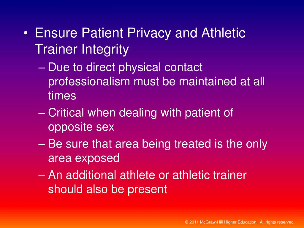 Ensure Patient Privacy and Athletic Trainer Integrity